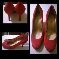VanEli Heels Gently worn, red suede heels Vaneli Shoes Heels