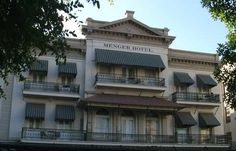 """Menger Hotel, San Antonio, TX - was built in 1859 only about 100 yards from The Alamo 23 years after the bloody fight in 1836. It is believed that the hotel is home to at least 32 different entities, some of which are believed to be ghosts of The Alamo. Among the many apparitions that have been seen is a man in a buckskin jacket asking """"Are you gonna stay or are you gonna go?"""" three times before he vanishes. Other activity includes kitchen utensils floating through the air in the kitchen."""
