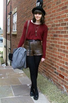 """Black Bowler Hat H Hats, Dark Brown Leather River Island Shorts 