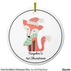 Cute Fox Baby's Christmas Winter Woodland Rustic Ceramic Ornament