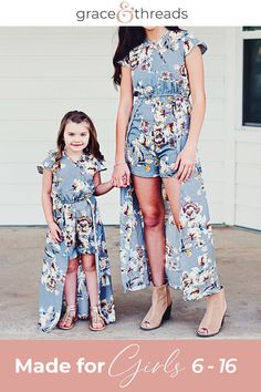 Made for girls & tweens sizes Beautiful, comfortable boutique clothing at every day prices, and always with the message that they are enough! Cute Dresses, Girls Dresses, Summer Dresses, School Outfits, Kids Outfits, Girls Sizes, Rompers For Kids, Stunning Girls, Tween Fashion