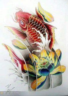 Tats and art ideas Pez Koi Tattoo, Koi Dragon Tattoo, Carp Tattoo, Japanese Koi Fish Tattoo, Japanese Tattoo Designs, Koi Art, Fish Art, Asian Tattoos, Dog Tattoos