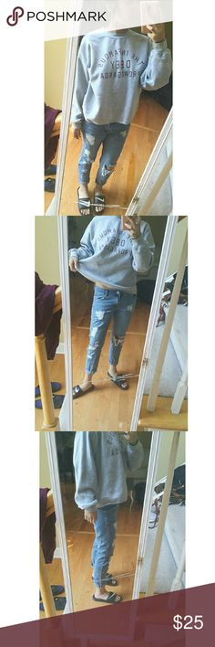 Distressed Boyfriend Jeans Size 7. Fits a 27-28. My favorite pair of jeans in excellent condition. It is not too baggy on the bum or leg and is somewhat fitted but still relaxed! Purchased from a boutique! Urban Outfitters Jeans Boyfriend