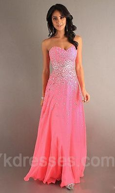 Sparkly pink long prom dress