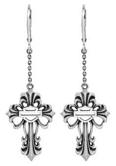 harley jewelry for women   Harley-Davidson® Womens .925 Silver Filigree Cross Dangle Earrings by ...