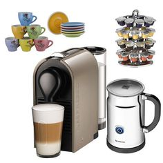 U-C50 Pure Nespresso Coffee Machine/Aero + Bundle (Grey) + Coffee Carousel + Set Of 6 Espresso Cups & Saucers Tri Color - http://nespressoshop.net/u-c50-pure-nespresso-coffee-machineaero-bundle-grey-coffee-carousel-set-of-6-espresso-cups-saucers-tri-color