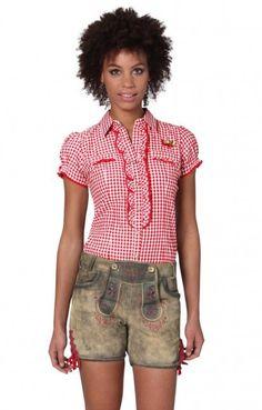 Traditional leather pants short Franzi cornred
