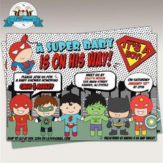 Hmmm Superhero Birthday Invitations Theme Party Baby Shower Printable