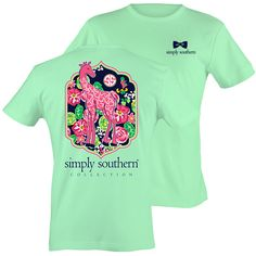 Simply Southern Preppy Giraffe Pattern Mint T-Shirt Available in sizes- Adult…