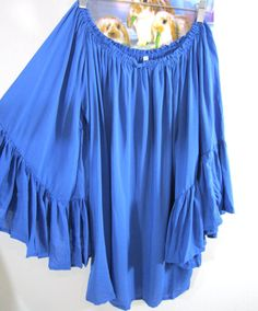 57f70cb39c147 NWT ELAN RUFFLE BELL SLEEVE OFF SHOULDER TUNIC TOP One Size BLUE