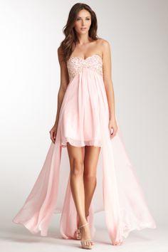 La Femme Strapless Beaded Hi-Lo Gown