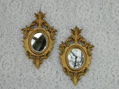 Pair of Small Vintage Golden Italian Mirrors by PantoisPapillon, SOLD