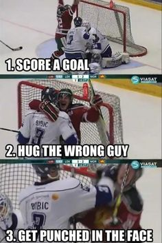 Funny pictures about Hockey step by step. Oh, and cool pics about Hockey step by step. Also, Hockey step by step. Lol, Haha Funny, Funny Stuff, Freaking Hilarious, Funny Hug, Farts Funny, That's Hilarious, Memes Humor, Funny Memes