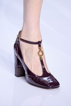 Go school girl chic with these bordeaux ankle strap heels from Chloe.