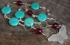 Handmade Butterfly Necklace  Turquoise flat by BrigittesJewels, $58.00