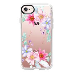 Pastel Floral Watercolor Flower Crown - iPhone 7 Case And Cover (26.735 CLP) ❤ liked on Polyvore featuring accessories, tech accessories, phone cases, phones, cases, filler, iphone case, clear iphone case, iphone cases and apple iphone case
