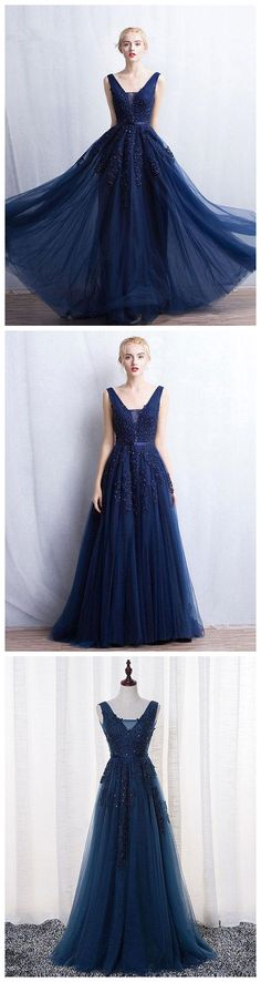 A-Line V-neck Floor length Tulle Prom Dresses Formal Gowns P0917	#promdresses #longpromdress #2018promdresses #fashionpromdresses #charmingpromdresses #2018newstyles #fashions #styles #hiprom #promdress #navyblue