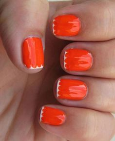 Scalloped edged manis are a trendy twist on the French tip.