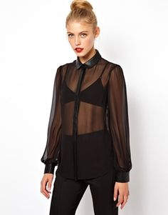 Image 1 of ASOS Blouse with Leather Look Collar and Cuff