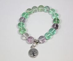 Energy Healing Bracelet Hand Made of Flourite, on Stretch Cord with Tree of Life Charm. by AlwaysBeadBeautiful on Etsy