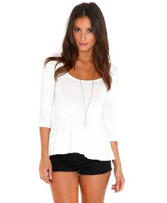 white peplum long sleeves I need/want this badly