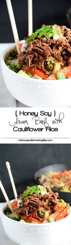 Honey-Soy Asian beef simmered in the slow cooker until tender and served over low-carb cauliflower fried rice! [i]Asian beef simmered in the slow cooker until tender and served over low-carb cauliflower fried rice! Slow Cooker Recipes, Paleo Recipes, Asian Recipes, Crockpot Recipes, Whole Food Recipes, Dinner Recipes, Cooking Recipes, Cheap Recipes, Shrimp Recipes