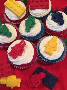 Lego birthday party cupcakes. Lego men from molded chocolate.