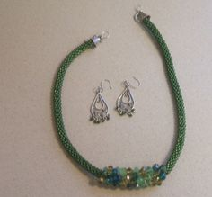 Mixed Green Kumihimo Bead Braided Necklace Set by FranksStudio, $37.00