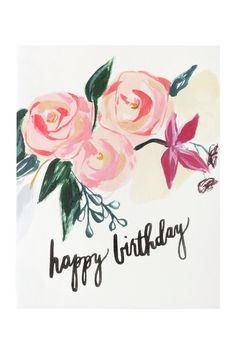 """Pink Florals"" Happy Birthday Card"