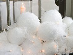 Willow Decor: Creating Holiday Window Boxes. Snowballs with lights for winter