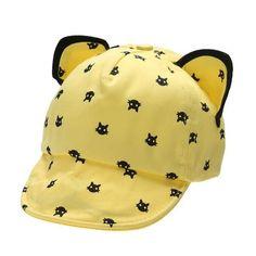 Baby Boy Girl Hat Cute Cat Ears Baby Baseball Cap Children Cartoon Peaked  Cap Black Blue 1ea772b31950