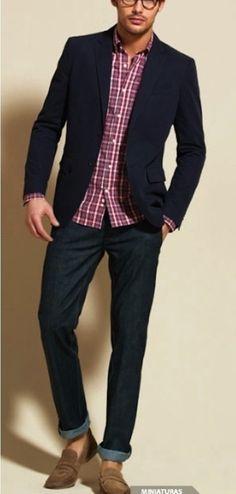 Shop this look on Lookastic: https://lookastic.com/men/looks/navy-blazer-dark-purple-long-sleeve-shirt-navy-jeans-brown-loafers/250 — Navy Blazer — Dark Purple Plaid Long Sleeve Shirt — Brown Suede Loafers — Navy Jeans