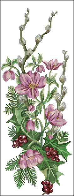 Cross stitch - flowers: Christmas rose and holly bell pull (free pattern - chart) Counted Cross Stitch Kits, Cross Stitch Charts, Cross Stitch Designs, Cross Stitch Patterns, Cross Stitching, Cross Stitch Embroidery, Embroidery Patterns, Hand Embroidery, Cross Stitch Fruit