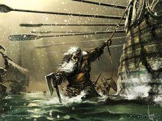Dagmer, better known as Dagmer Cleftjaw, is the ironborn captain of the longship Foamdrinker.