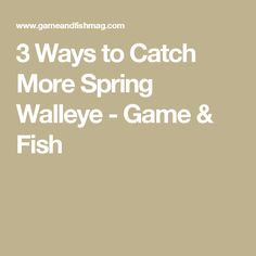 3 Ways to Catch More Spring Walleye - Game & Fish