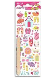 Cette planche de décalcomanies ou transferts (rub-ons) comporte environ 45 motifs en couleur sur le thème des vacances et de la plage pour transférer vos envies créatives et décoratives !