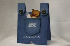 Pocket Fun using teddy bear and bottle for boy or girl bibs baby cards by nikkischmaltz - Cards and Paper Crafts at Splitcoaststampers Baby Silhouette, New Baby Cards, Baby Boy Cards Handmade, Shaped Cards, Baby Shower Cards, Card Tags, Card Kit, Kids Cards, Folded Cards