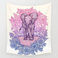 Buy Cute Baby Elephant in pink, purple & blue Wall Tapestry by micklyn. Worldwide shipping available at Society6.com. Just one of millions of high quality products available.