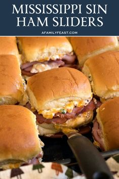 Mississippi Sin Ham Sliders – A Family Feast® Mississippi Sin Ham Sliders – A Family Feast®,Deliciousness Our delicious Mississippi Sin Ham Sliders are a delicious new variation on the addictively-good Mississippi Sin Dip with. Ham Sliders, Slider Sandwiches, Steak Sandwiches, Appetizer Recipes, Appetizers, Slider Recipes, Sandwich Recipes, Soup And Sandwich, Sandwich Ideas