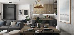 Mieszkanie w przytulnych, nowoczesnych szarościach, w jadalni nad rodzinnym stołem zawieszona lampa Axo Light, w kuchni na podłodze płytki firmy Tagina.