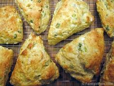 Savory cheese and scallion scones with feta and cream cheese - and no butter! These mix together quickly and taste great on their own or as little sandwiches. They also freeze beautifully. - yummy and so fluffy! Cheese Scones, Savory Scones, Cheese Log, Cheese Pastry, Goat Cheese, Whole Food Recipes, Great Recipes, Favorite Recipes, Recipe Ideas