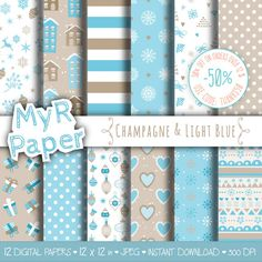 "#Christmas Digital Paper Pack: ""Champagne & Light Blue"" #Xmas Digital Paper – printable - x-mas shabby paper  50% OFF ON ORDERS OVER 12 $ (OR NEARLY 12 €) USE CODE: THANKS50 ... #patterns #design #graphic #digitalpaper #scrapbooking #holidays"