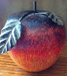 """Carved Wood Apple Metal Stem Leaves Black Red Yellow Green 4"""" Tall #Unbranded"""