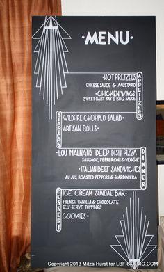 Wedding chalkboard : Art Deco Menu