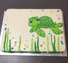 Cute turtle cake. All buttercream. #thecakerystl @thecakerystl