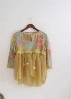 Romantic Cropped Sweater Shirt / Small Medium Large by KheGreen, $32.00