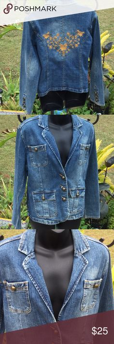 💃Blast From Past 1970 Embroidered Denim Sz 12  💃 💃Gotta Have This Unique Blast From Past 💃 Embroidered Denim Jacket Size 12 Stretch  Comes Right Outta the Back of My Closet 💃👍Many Great Adventures in This Jacket Good Times 💃Wish it Still Fit 💃Now it Can Be Your New Favorite Jacket Great Addition to Your Fun Wardrobe 💃 I Live in Smoke Free Home  I Love ❤️to Do Bundles & I Love ❤️ to Do Deals  Thanks For Looking 💃 Faded Glory Jackets & Coats Blazers