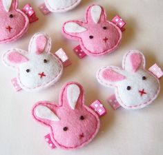 Puffy Bunny Felt Hair Clip - You Pick 1 Hot Pink or White - Super cute Easter felt bunny clippies - Holiday hair bows