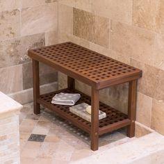 Belham Living Lattice Teak Shower Bench - Bathtub & Shower Accessories at Hayneedle Teak Shower Stool, Bathroom Bench, Bathroom Flooring, Bathroom Furniture, Shower Benches, Shower Stools, Bathroom Ideas, Wood Shower Bench, Shower With Bench