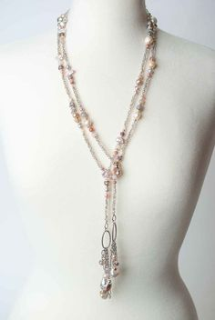 Anne Vaughan Original Jewelry | Breathless - pearl czech glass crystal long lariat necklace on antique silver plated brass